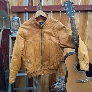 Cooper leather knit lined jacket.